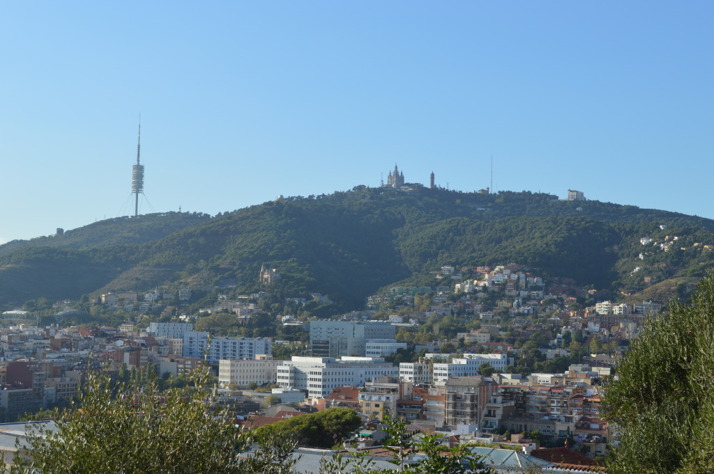 View from Park Guell of Mount Tibidabo