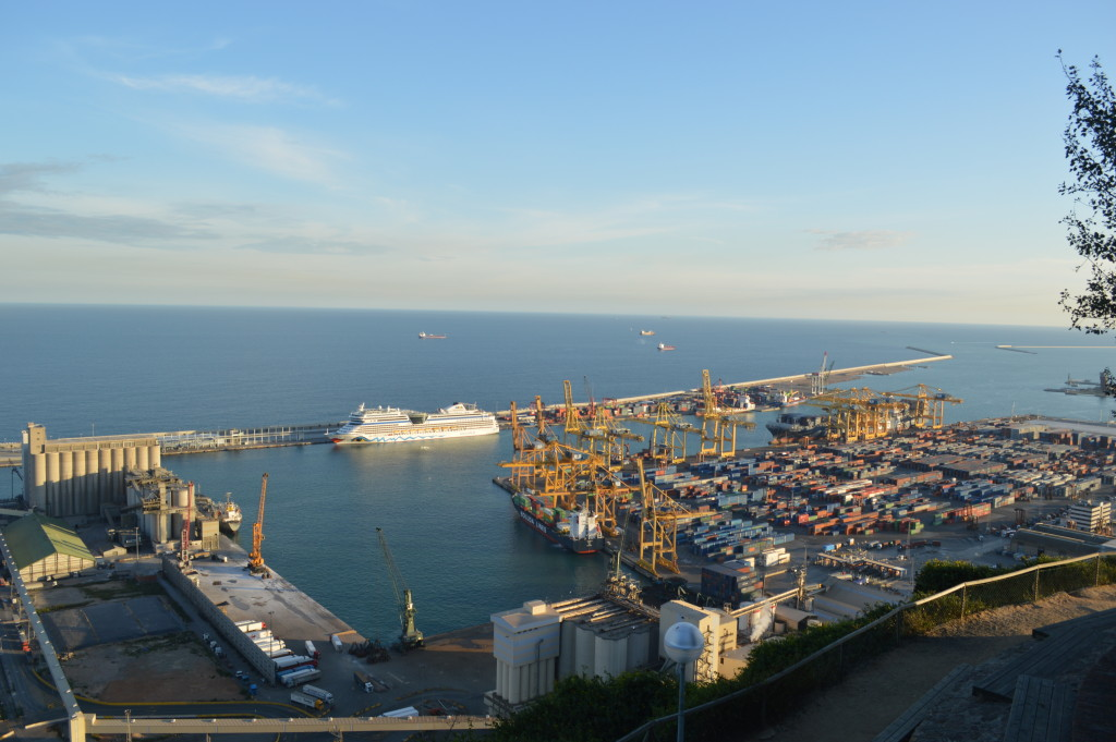 View from Montjuic castle of harbour