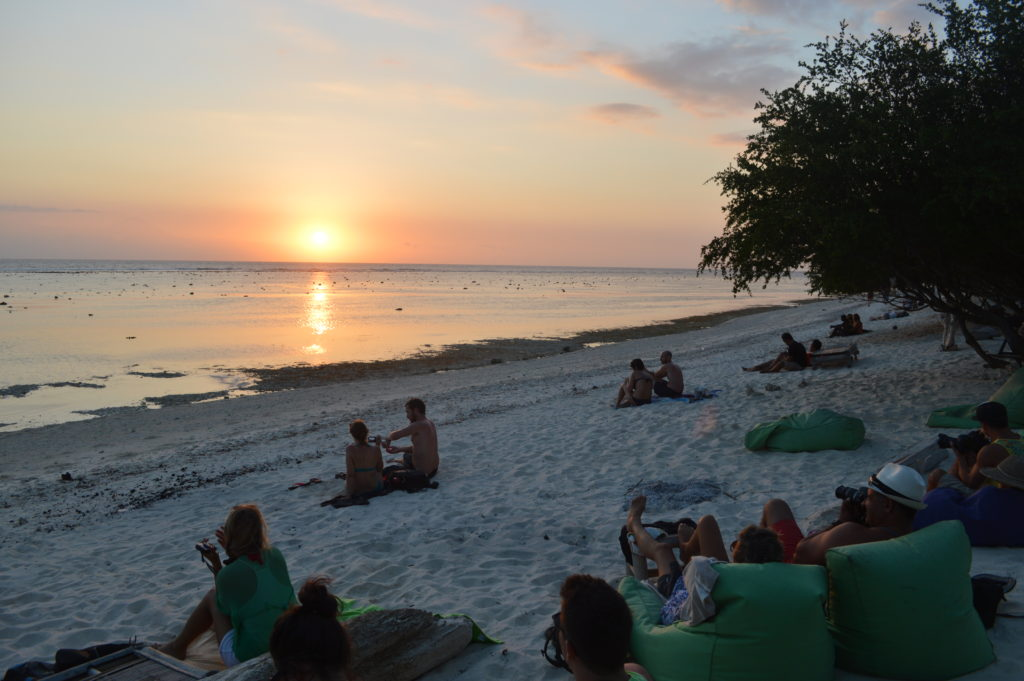 Relaxing at sunset on Gili Trawengan