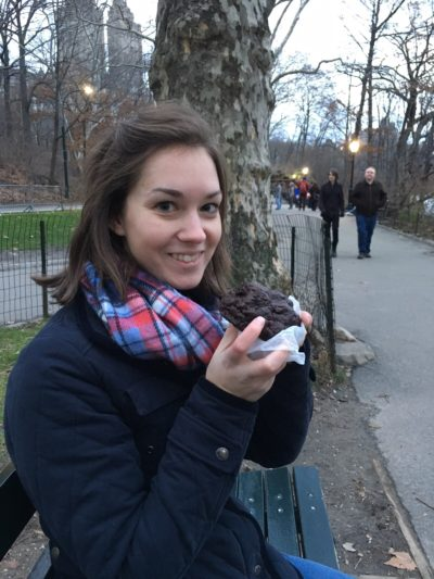 Enjoying a levain cookie in Central park!