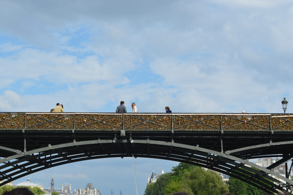 View of Love lock bridge from the river Seine